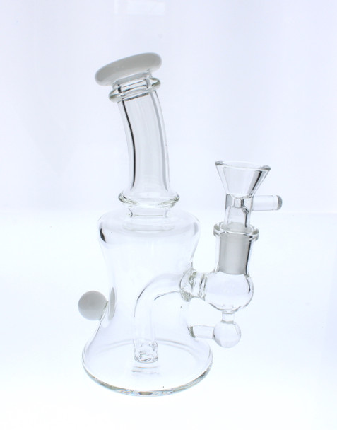 "6"" Glass Water Pipe Banger Hanger Dab Rig / Bong - White"