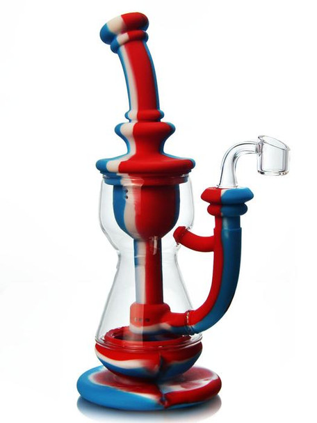 """10"""" Silicone Incycler Dab Rig Water Pipe - Red, White & Blue"""