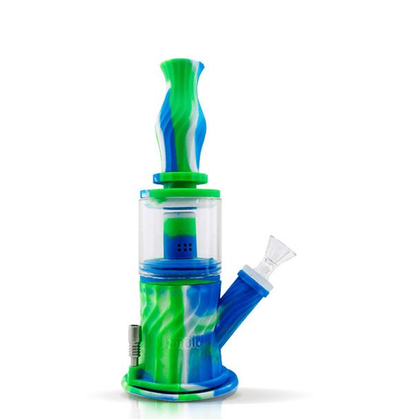 "9.3"" Silicone Glass 4 in 1 Double Percolator Water Pipe - Blue, Green, & White"