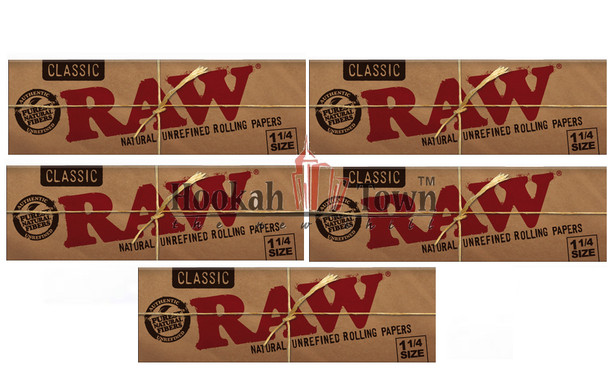 Raw Classic 1 1/4 size 50 Leaves per pack (5 Pack) 250 papers total