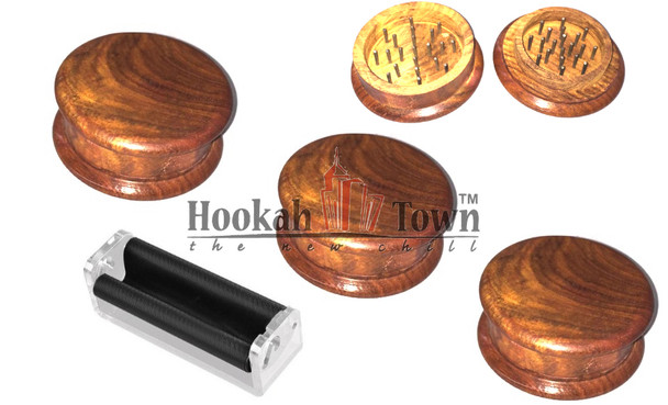 Wooden Tobacco Grinder Small 3 pack plus cigarette roller