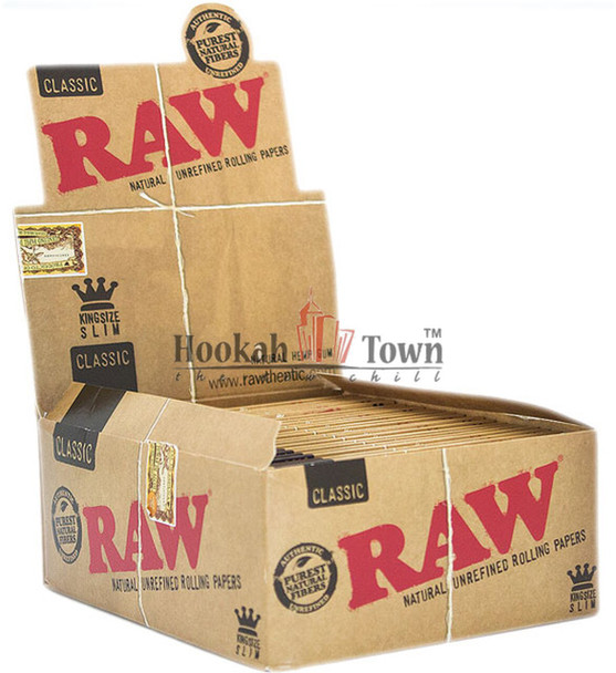 RAW KING SIZE SLIM CLASSIC CIGARETTE ROLLING PAPERS, 32 LEAVES