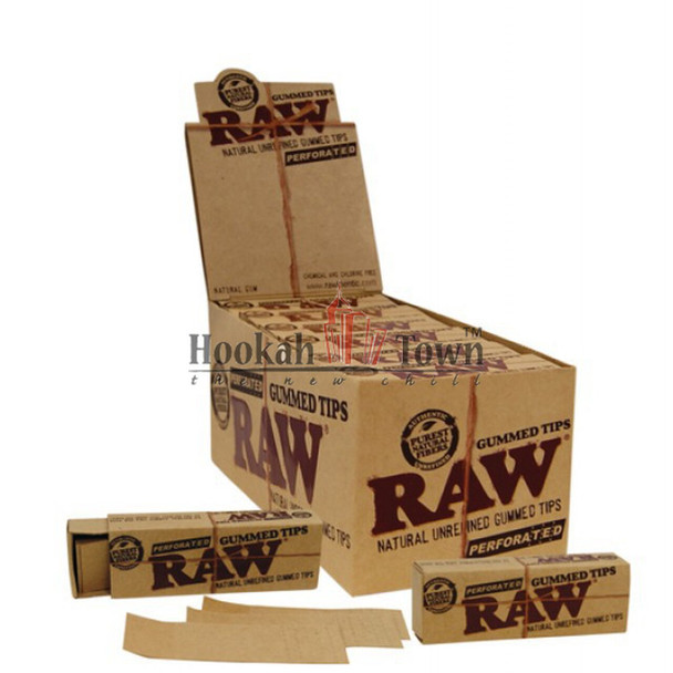 RAW UNREFINED GUMMED TIPS - PERFORATED - 33 TIPS
