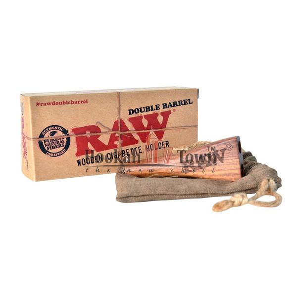 DOUBLE BARREL RAW WOODEN CIGARETT HOLDER