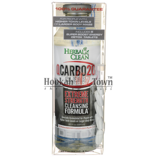 HERBAL CLEAN: QCARBO20: EXTREME STRENGTH CLEANSING FORMULA: STRAWBERRY-MANGO FLAVOR 20 OZ