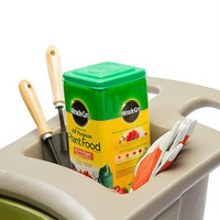 Simplay3 Easy Haul Wheelbarrow has easy grip handles and built in storage tray for garden tools, work gloves, and small containers.
