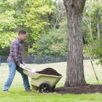 Simplay3 Easy Haul Wheelbarrow is extra deep with a flat floor to keep contents level and can take on heavy loads up to 4 cubic feet of heaped capacity.