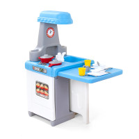 Simplay3 Play Around Kitchen and Activity Center for toddlers includes a drop leaf table, oven, stove, sink with faucet, cupboard shelves, and an 18 piece cooking and dining play set.