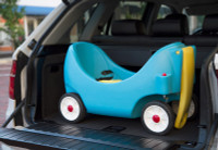 Simplay3 High Back Wagon for children features a drop down handle for easy storage and transport.