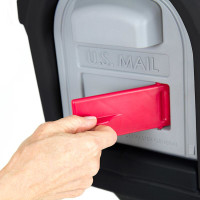 Simplay3 Classic Mailbox with front and rear access magnetic doors includes a unique cherry flag mail pick-up indicator that swivels out from the front of the mailbox.