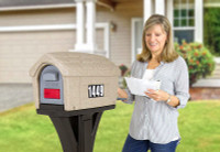 Designed by the original creators of the durable all-in-one plastic mailbox and post, the NEW Simplay3 Classic Home Mailbox is available in washed stone mailbox top with espresso post or gray stone mailbox top with black post - Built to last and made in the USA.