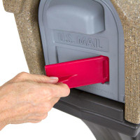 Simplay3 Rustic Home Mailbox includes a unique cherry red flag mail pick-up indicator that swivels out from the front of the mailbox.