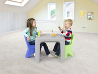 Simplay3 Play Around Table and Chair Set for boys and girls mealtime fun, perfect for snacks or lunch.  Smooth table surface is easy to clean.