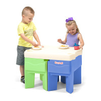 Simplay3 In & Out Activity Table configured as compact space-saving children's snack table with four cup holders.