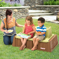 Simplay3 Sand and Water Bench has comfortable contoured seats for children 2+.