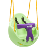 Simplay3 Green Snuggle Swing for children equipped with sturdy, soft polypropylene 3-strand roping that is weather-resistant