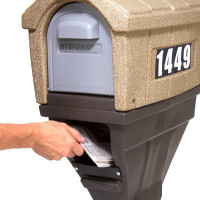 Simplay3 Classic Home Plus Mailbox with newspaper holder includes adhesive mailbox address numbers, mounting hardware, and a post cover.