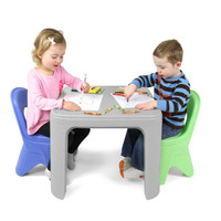 Simplay3 Play Around Chairs periwinkle blue and lime colors complement the children's Play Around Table and Chair Set.