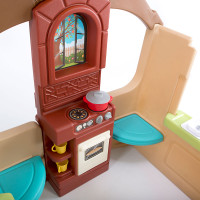 Simplay3 Garden View Cottage with kids kitchen, pretend oven, and stove.