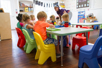 Simplay3 Play Around heavy duty chairs lasts for years, are made with a tip resistant design, and are sturdy enough for daycare and childcare classrooms.