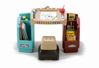 Simplay3 Create & Store Art Desk with angled desktop, stool chair, and storage bins.