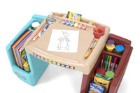 Simplay3 Create & Store Art Desk with specialty paint & drawing compartments & large side storage bins.