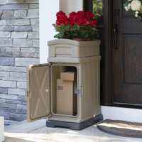 Simplay3 Hide Away Parcel Box with Planter has over 5 cubic feet of storage for residential package deliveries