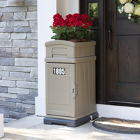 Simplay3 Hide Away Parcel Box with Planter in tan with flowers on the front doorstep