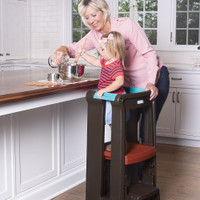 Simplay3 Toddler Tower Adjustable Stool is a safer step stool alternative for kids that is fun to climb and super easy to clean and sanitize as well