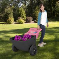 "Simplay3 Easy Haul Wheelbarrow durable, heavy duty plastic wheelbarrow pivots and rolls easily on two 13.5"" roto tough treaded wheels."