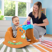 """Simplay3 Rock Away Pony with wide grip handle allows toddler to """"hold on to the reins"""" for secure rocking horse ride"""