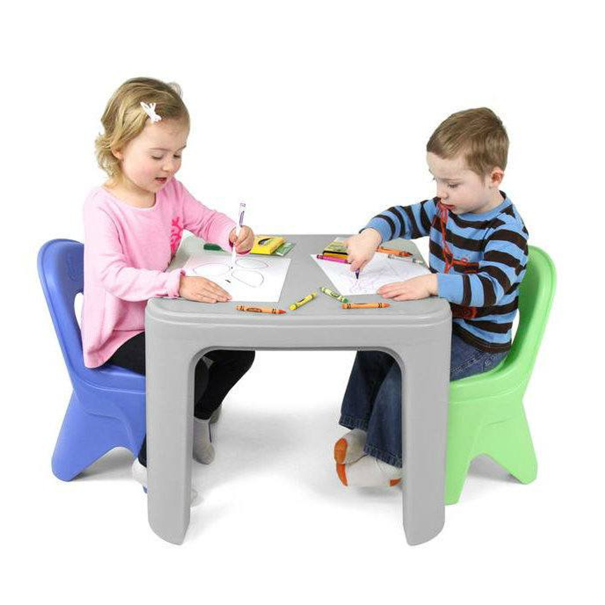 Kids Toddlers Childs Table Chairs Set Large Childrens Plastic School Desk