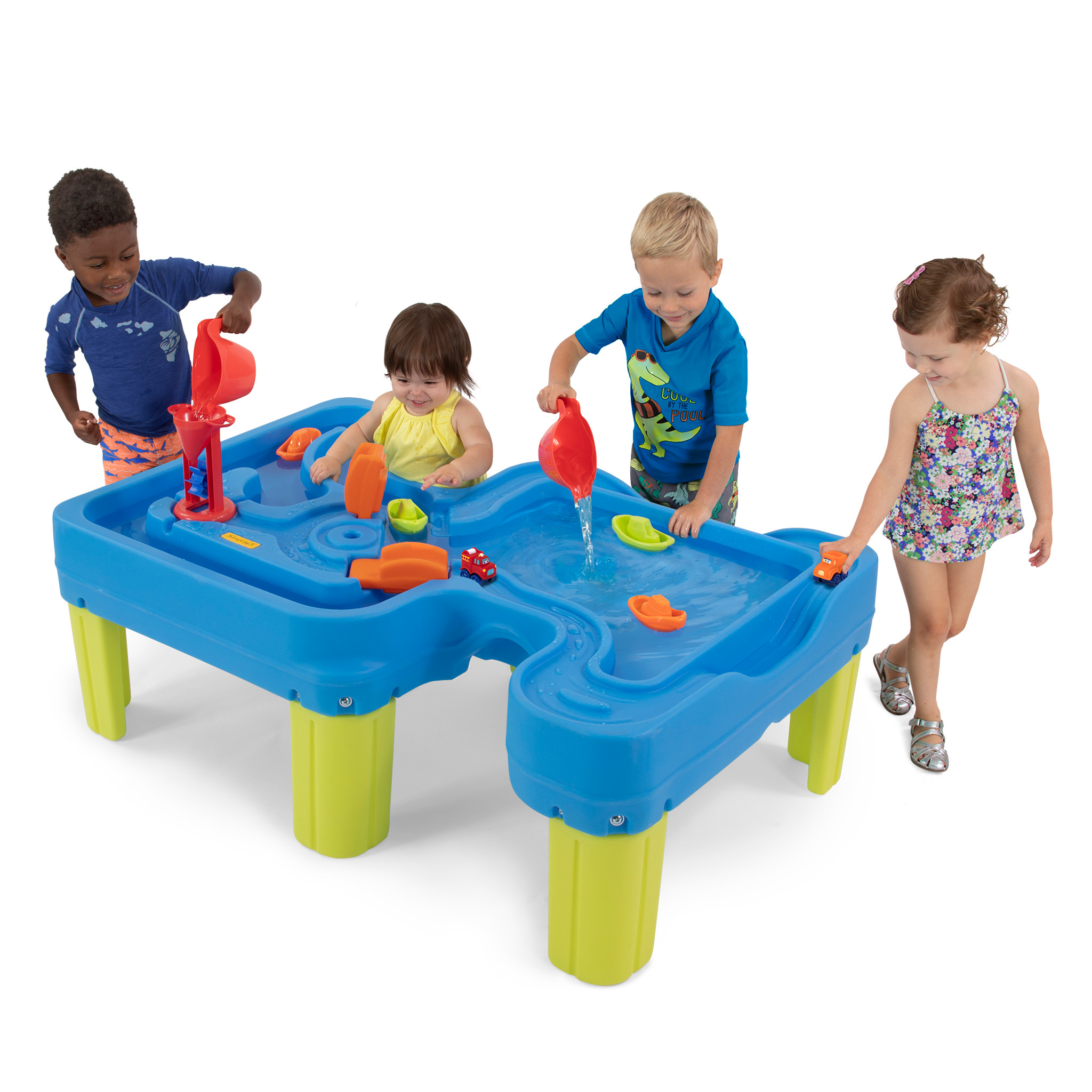 Kids playing with Big River and Roads Water Play Table.