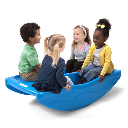 Simplay3 Rocking Bridge can hold up to 4 riders with level seats for toddlers or bigger kids.