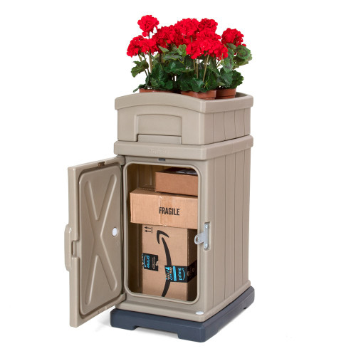 Simplay3 Hide Away Parcel Box cabinet with heavy duty magnet and lock latch keeps ground and express deliveries dry and secure
