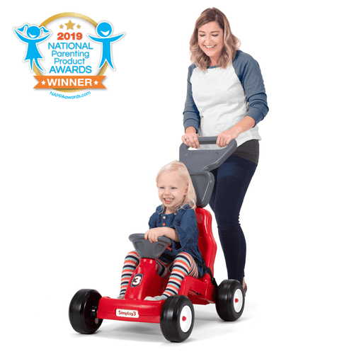 Simplay3 Fold & Go Rally Racer in use with mom and child.