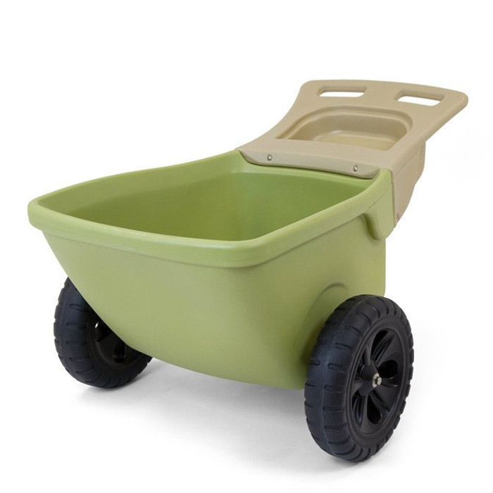 Simplay3 Easy Haul Wheelbarrow two wheeled heavy duty plastic wheelbarrow is lightweight, durable, and easy to move.