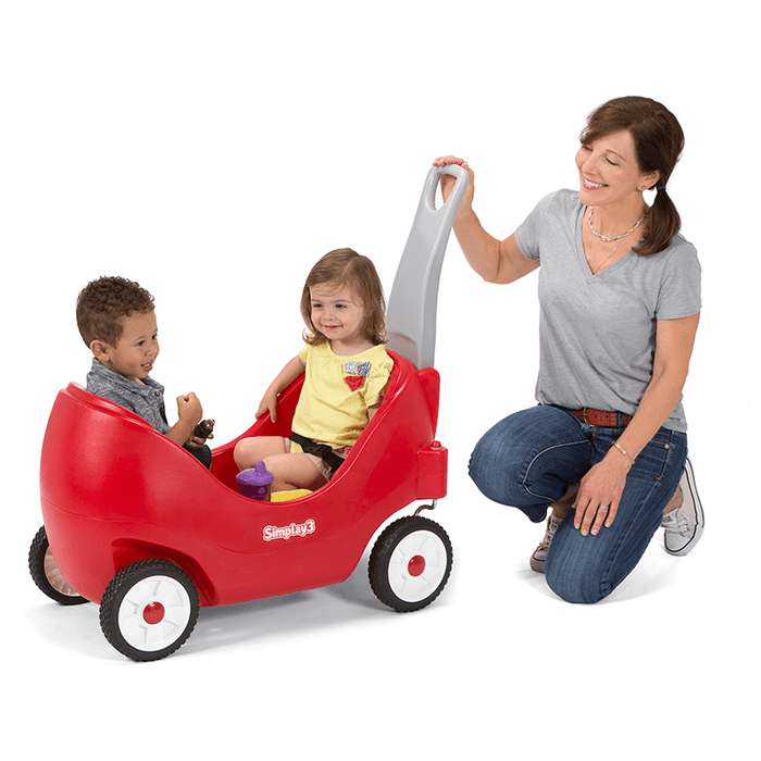 Simplay3 High Back Wagon for 2 children with cozy high back rest support.