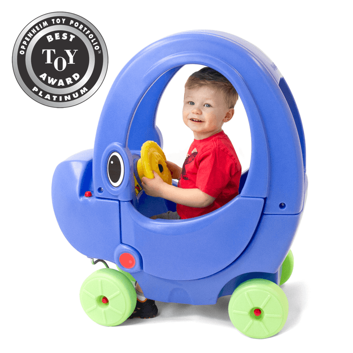 Simplay3 Elly Coupe with rounded arching roof and cozy seating has durable caster wheels for easy maneuverability and toddler foot-to-floor ride-in kids coupe car fun.