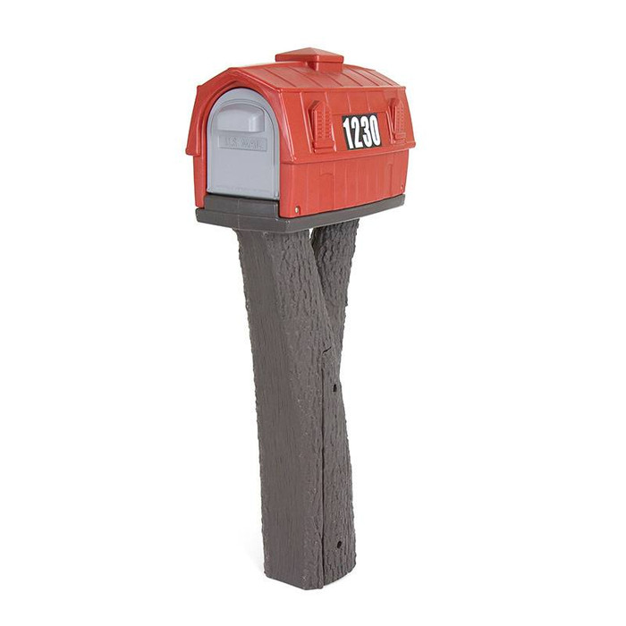 Simplay3 Rustic Barn Mailbox is easy to access from the front or rear and features heavy duty magnets that keep mailbox doors closed and contents secure.