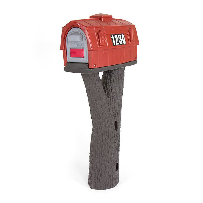Designed by the original creators of the durable all-in-one plastic mailbox and post, the NEW Simplay3 Rustic Barn Mailbox includes a burnt red color barn mailbox top and tree branch bark textured post that attaches to 4 x 4 post (sold separately) - Built to last and made in the USA.