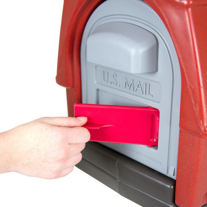 Simplay3 Rustic Barn Mailbox includes a unique cherry red flag mail pick-up indicator that swivels out from the front of the mailbox.