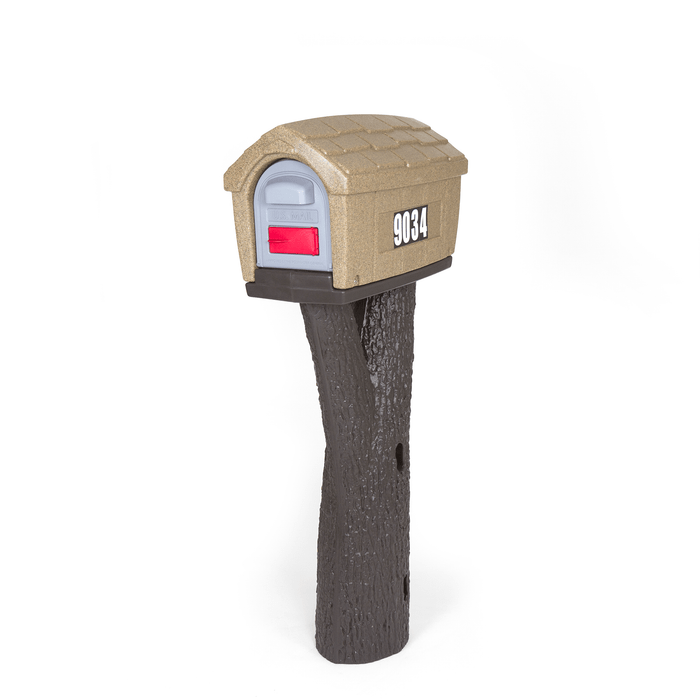Designed by the original creators of the durable all-in-one plastic mailbox and post, the NEW Simplay3 Rustic Home Mailbox includes a sandstone color mailbox top and and tree branch bark textured post that attaches to 4 x 4 post (sold separately) - Built to last and made in the USA.