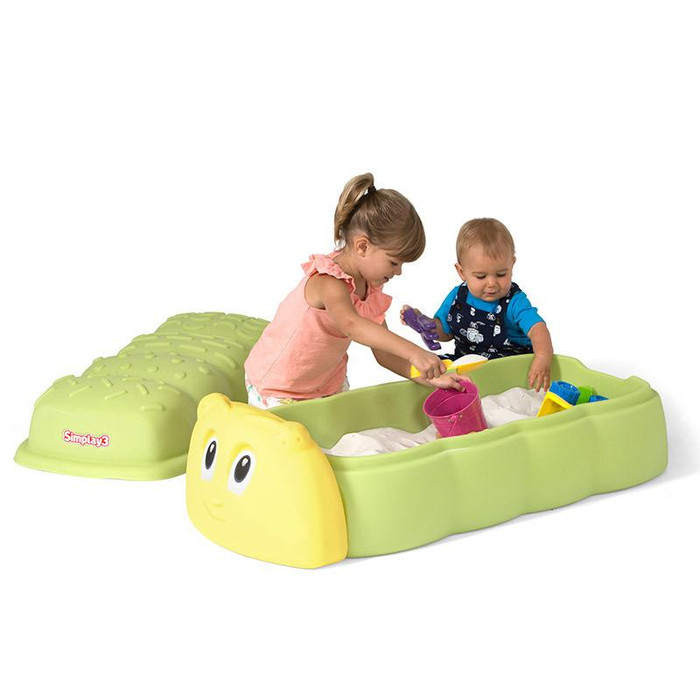 Simplay3 Caterpillar Sandbox with long caterpillar shape holds up to 160 lbs. of sand and allows for optimal child play along both sides of this kids sandbox!