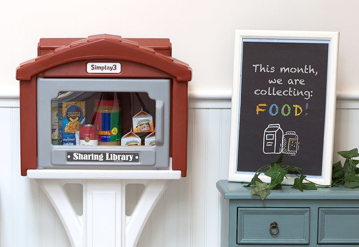 Simplay3 Sharing Library can be placed in a central location as a sharing drop box to collect food and donations for local community programs.