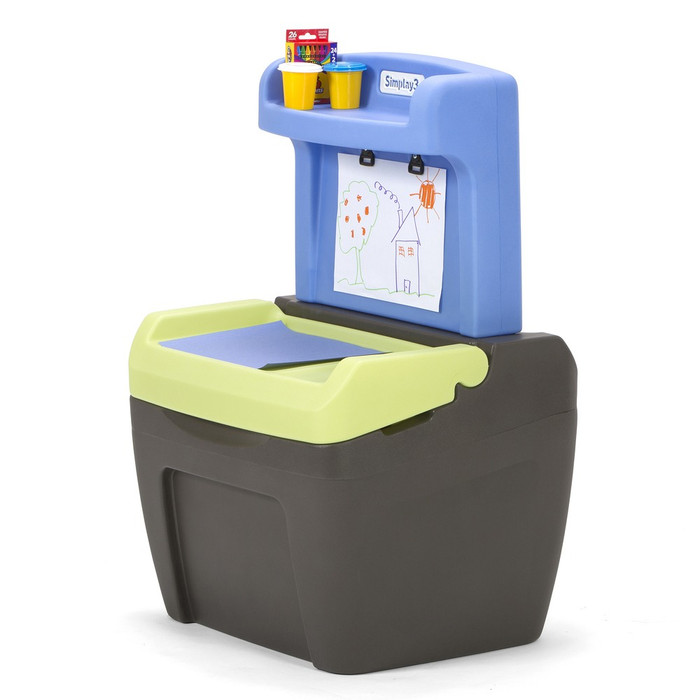 Simplay3 Toy Box Easel for toddlers is a two sided easel and art desk that opens to large toy box for convenient storage of toys and art supplies.