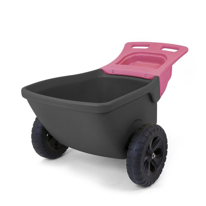 Simplay3 Easy Haul Wheelbarrow two wheeled heavy duty plastic wheelbarrow is lightweight, durable, and easy to move.