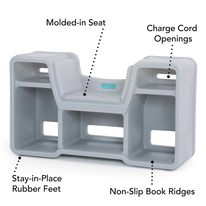 Cozy cubby reading nook has a contoured reading seat, charge cord openings, stay-in-place rubber feet, and non-slip book ridges.
