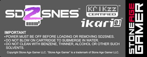 SD2SNES Back Label (North American)
