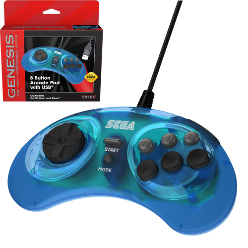 SEGA Genesis 8-button Arcade USB Pad - Officially Licensed